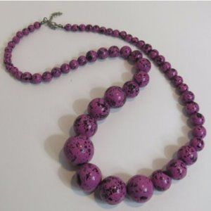Jewelry - Purple Black Speckled Beaded Necklace